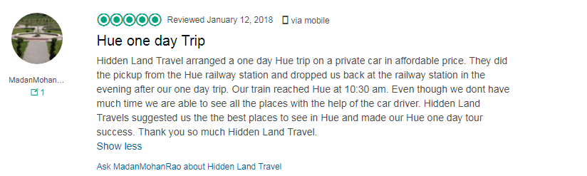 Hoi An to hue private car