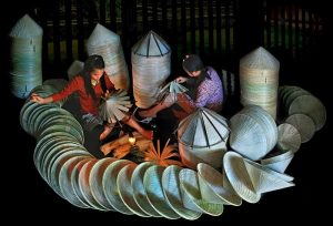 conical hats village